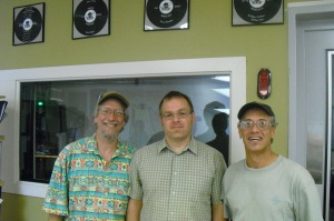 Howie Ritchey (of Howie's Eco-Calendar), Sunshine Mathon (of Foundation Communities), and Ken McKenzie-Grant
